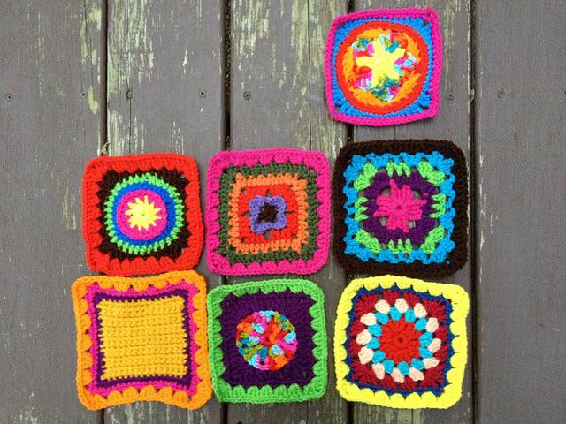 seven crochet square for a granny square fat bag