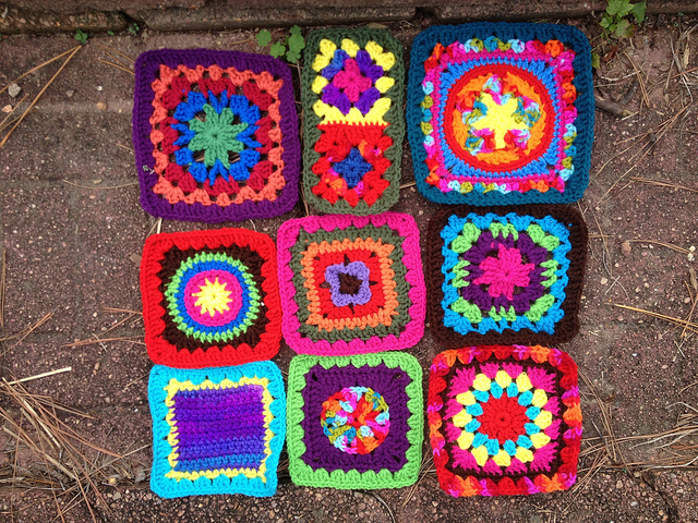 Nine crochet squares for a granny square fat bag crochet purse
