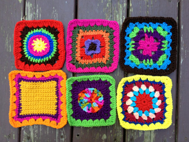 Six crochet squares for a future granny sampler fat bag