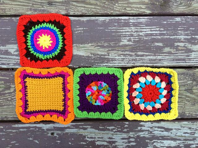 four crochet squares granny squares