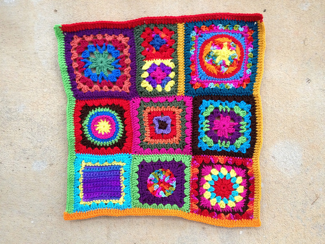 October 28: The front of my future granny square fat bag