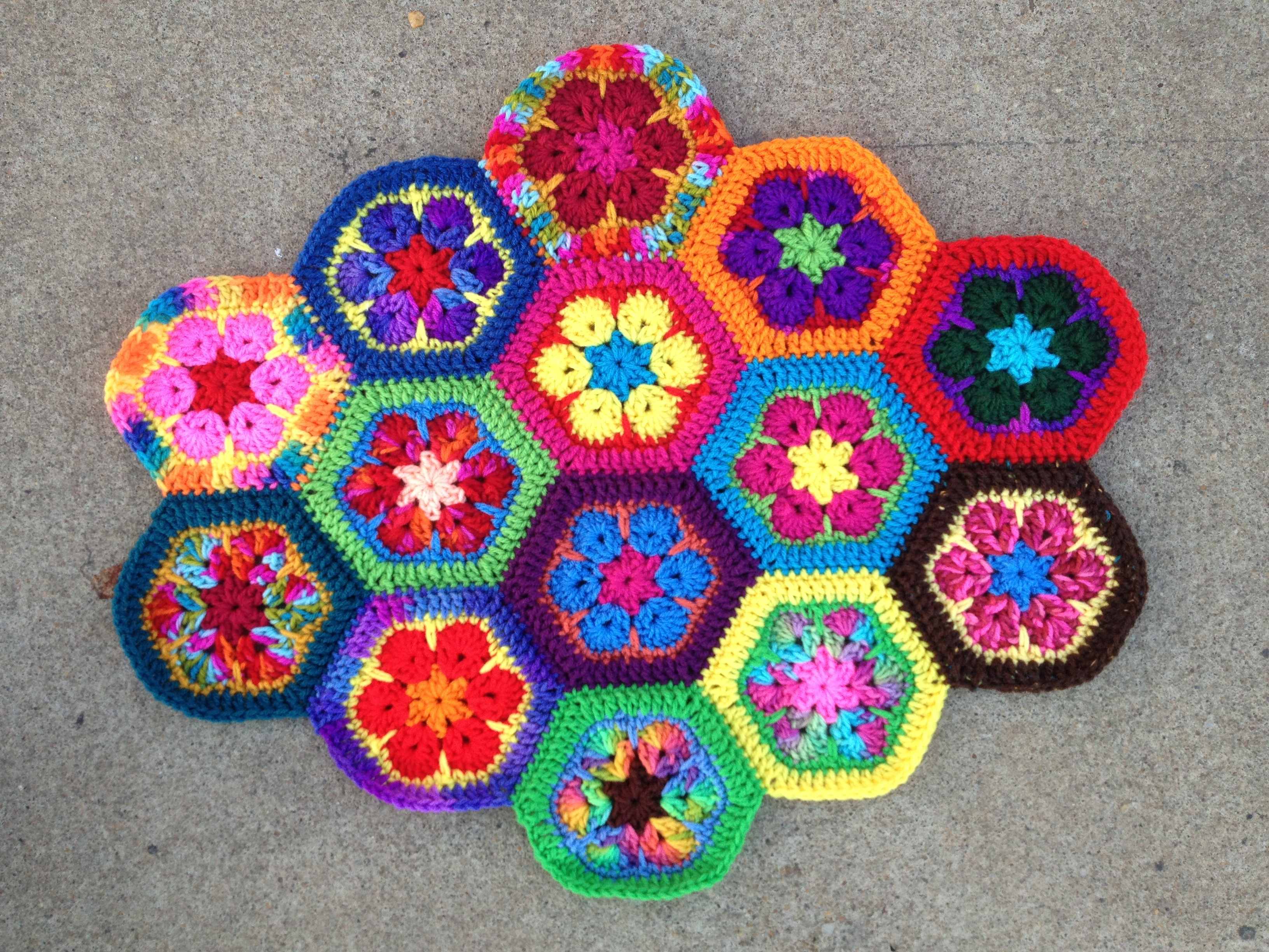 crochetbug, crochet hexagons, crochet flowers, african flower crochet hexagon, crochet meditation