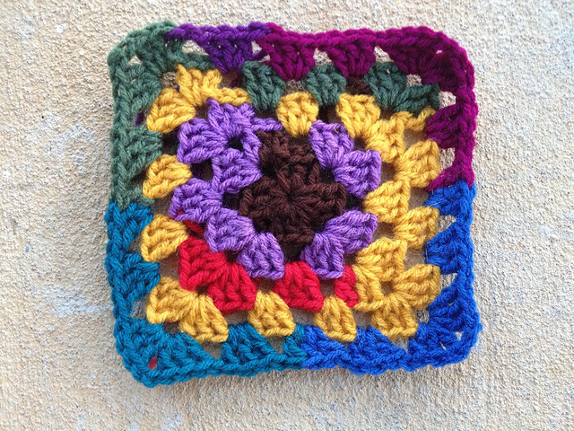 A scrap yarn granny square
