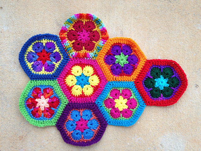 eight multicolor african flower crochet hexagons