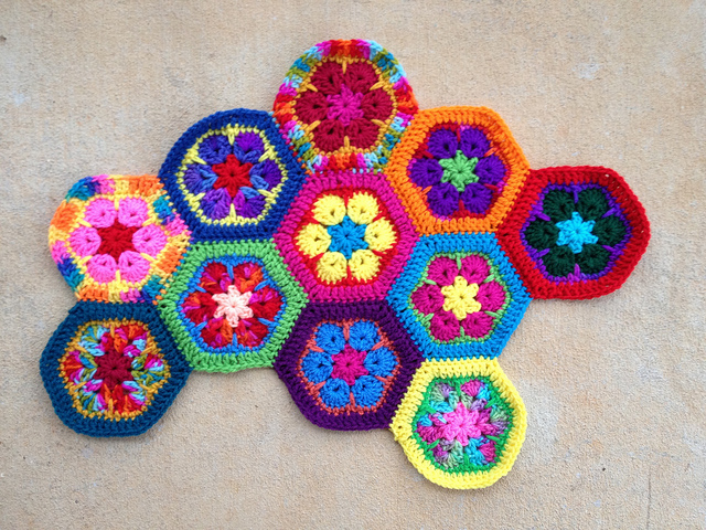An African flower crochet hexagon meditation