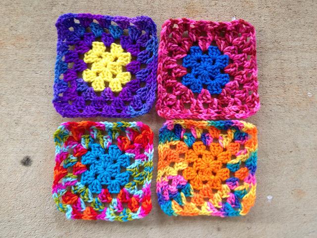 four five-round granny squares