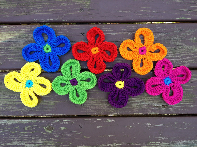 Seven Hawaiian crochet flowers