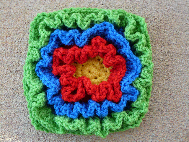 Crochet square with heavy ruffling