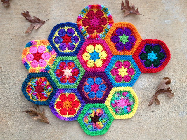 The 13th day of my African flower crochet hexagon meditation demonstrated the enduring nature of crochet