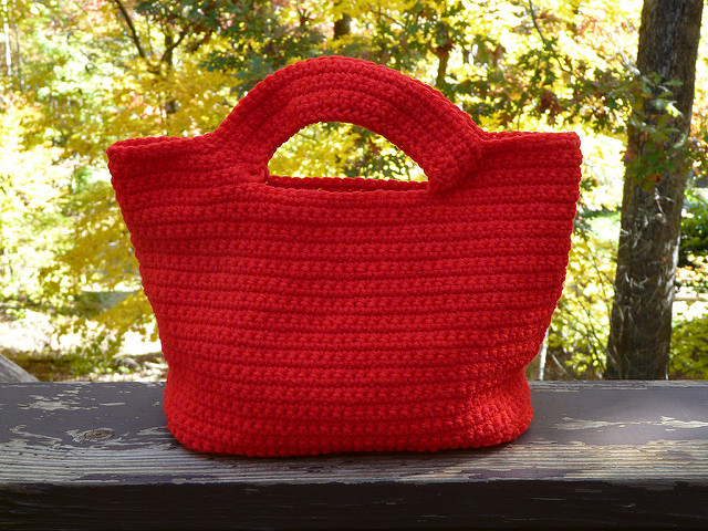 red crochet handbag
