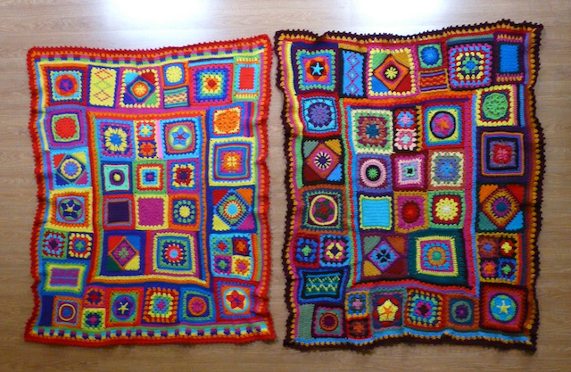 two crochet blankets, crochet afghans, granny square afghan, granny square throw, crochet afghan, crochet throw, crochet blanket, crochet stars, crochet circles, crochet squares
