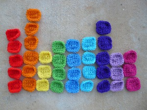 Crochet squares to be used in solving the crochet sudoku puzzles
