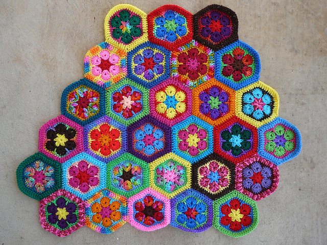 african flower crochet hexagon meditation