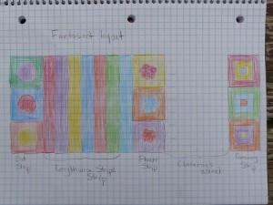 proposed color arrangement for a crochet ascot