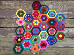 crochetbug, crochet flowers, crochet hexagons, African flower crochet hexagon, crochet meditation, stash buster
