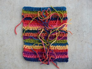 A swatch of double crochet stripes for a crochet ascot