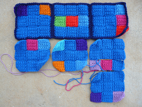 The first sudoku of a six sudoku afghan begins to take shape