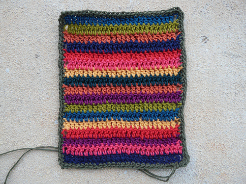 a panel of double crochet stripes for a crochet ascot
