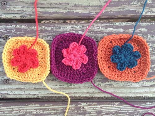Three crochet flower squares to-be