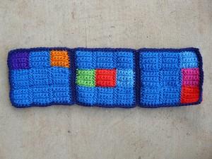 three crochet nine-patch squares for a sudoku crochet blanket