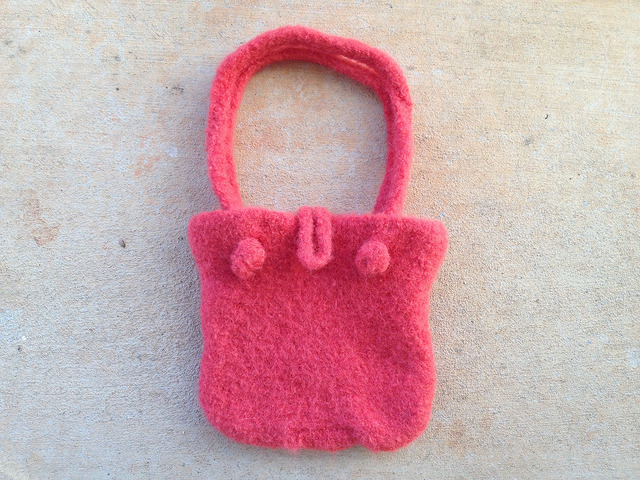 damp felted crochet purse