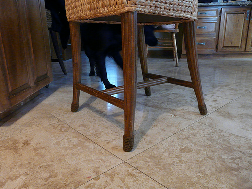 January 6: Clooney inspects the recently tricked out kitchen stool
