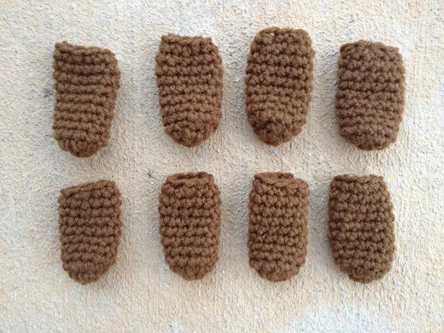 Eight more crochet chair leg socks