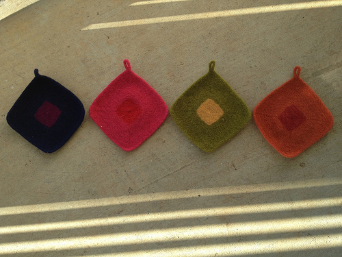 Four pot holders for Josef Albers in shadow and sunshine