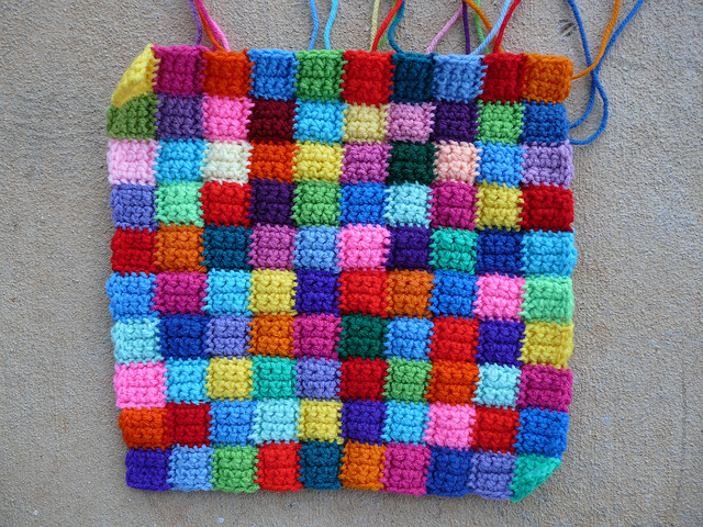 small crochet squares crochet bag
