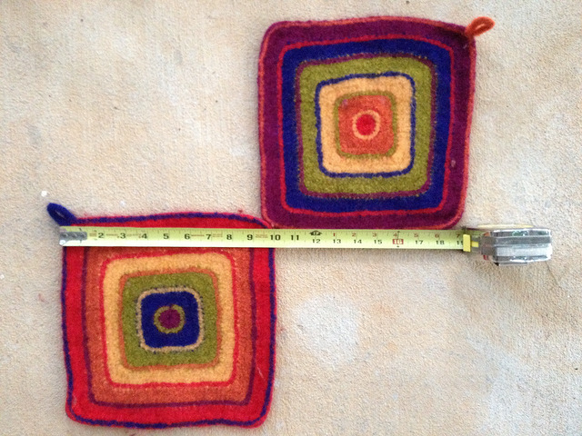 felted crochet potholders