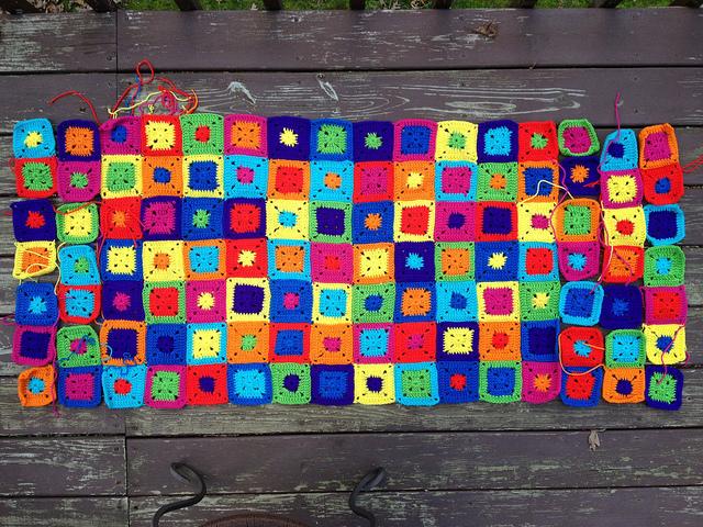 crochet squares cat runner