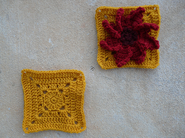 crochet flower square and plain crochet square