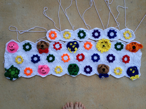 After joining three rows of crochet hexagons, I move onto the fourth