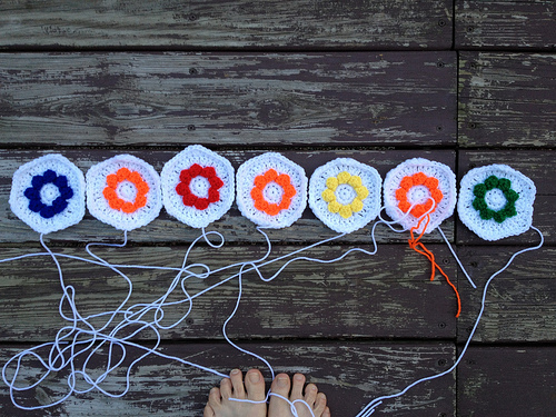 Seven textured crochet flower hexagons