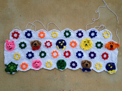 four rows of crochet hexagons to celebrate the ides of february