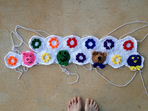 Where I was with the crochet hexagon project at the beginning of the week