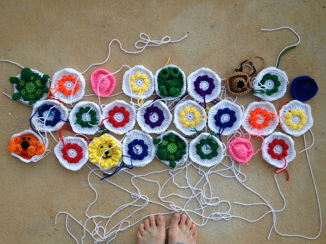 crochet animal and crochet flower hexagons