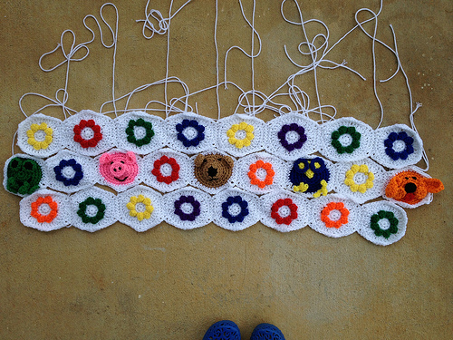 With the addition of three more rows, then there were ten for a crochet hexagon blanket
