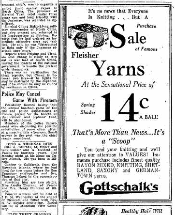 January 10: Otto Thurnau's obituary next to an advertisement for yarn