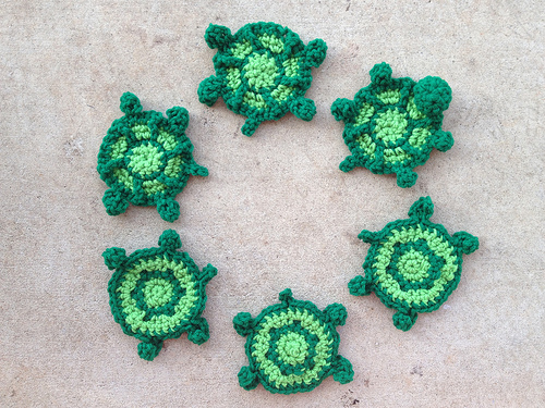 Six nearly completed turtles
