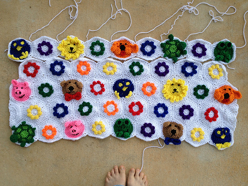 the progress I had made on the crochet hexagon project at the end of the week