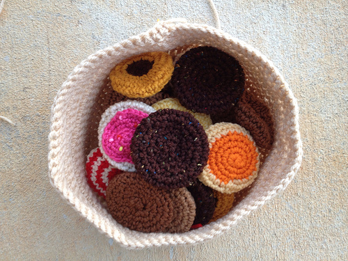 A bag full of crochet cookies