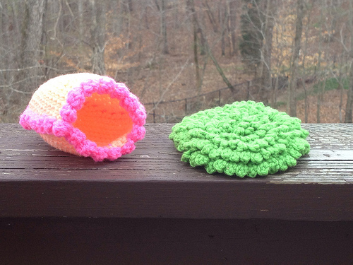 The crochet panorama egg and a patch of crochet grass