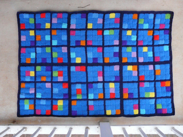 six suduku puzzle crochet afghan