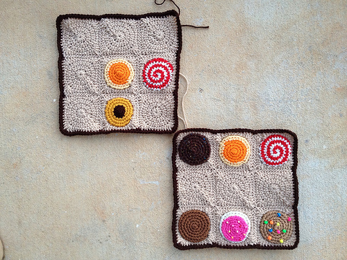 two nine patch crochet squares for a crochet cookie crochet sudoku puzzle