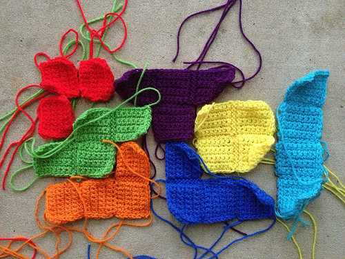 A possible arrangment of 6.75 crochet tetriminos