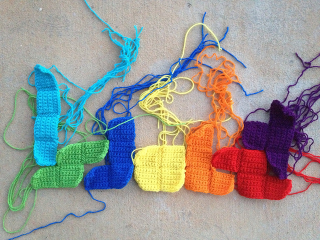 Arrangement 1 of 7 made with crochet and tetrominos