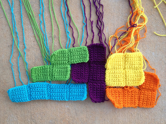 five crochet tetrominoes, crochetbug, crochet blocks, crochet squares, tetris, crochet blanket, crochet afghan, crochet throw