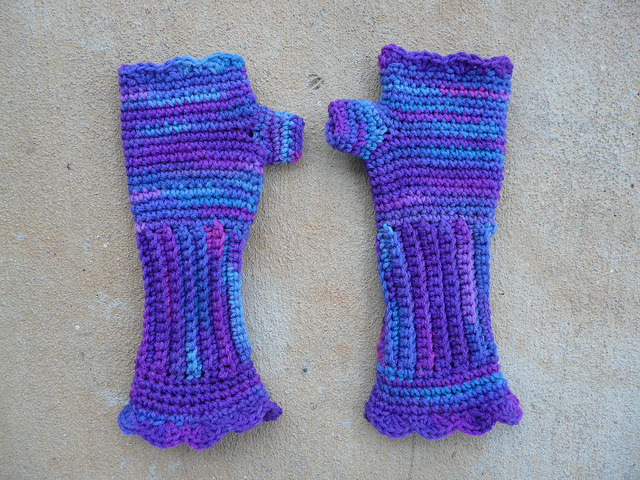 variegated purple crochet texting gloves I made with one of Catherine DePasquale's free crochet patterns