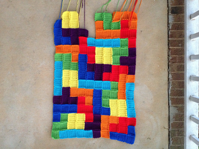 The back of the tetris inspired crochet blanket after a day of modest progress